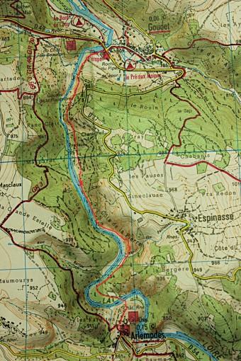 Carte du chemin emprunté entre Goudet  et Arlempdes
