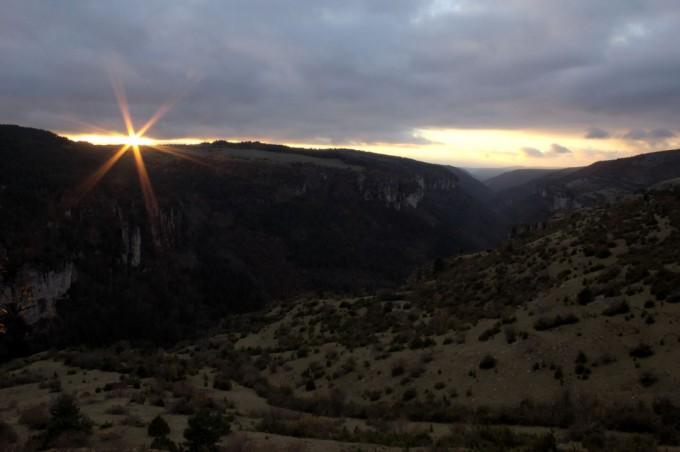 Couché de soleil sur les gorges de la Jonte